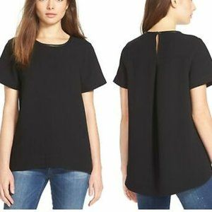 Madewell Leather Trim Tailored Tee T Shirt Black